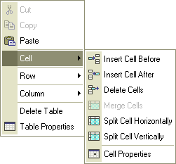 The cell context menu