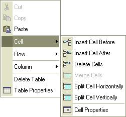 The cell context menu