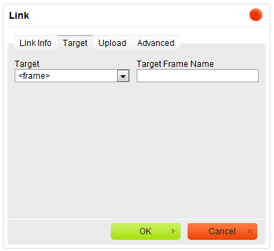 Target tab of the Link window for the URL link type with frame chosen as target