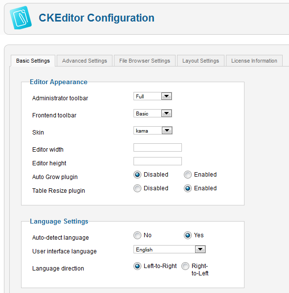 CKEditor for Joomla/Configuration - CKSource Docs