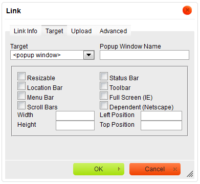 Target tab of the Link window for the URL link type with pop-up window chosen as target