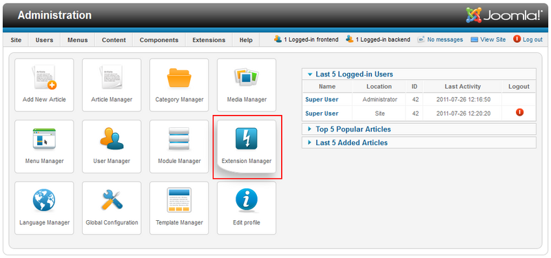 Joomla! Administration section with the Extension Manager